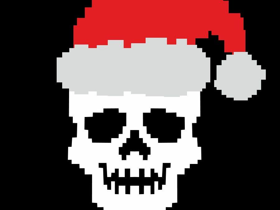 pixel Christmas skull with Santa Hats grunge.vintage design t-shirts